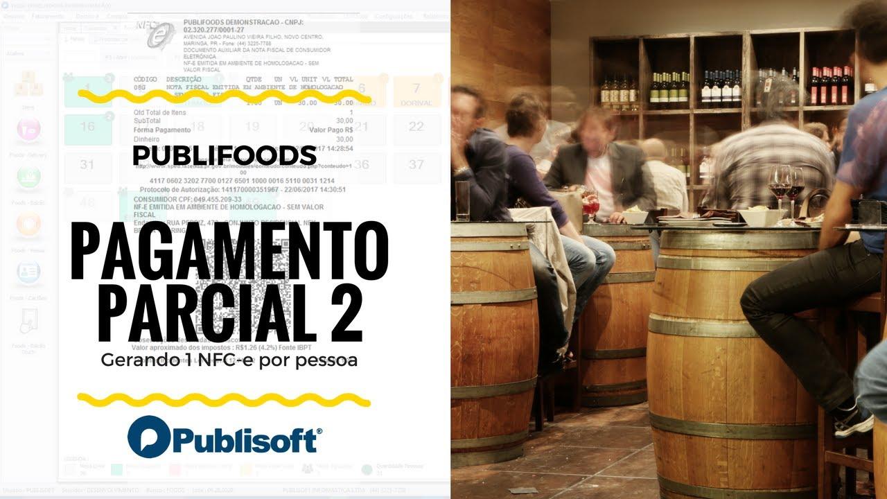 Pagamento Parcial - NFC-e individual (Restaurantes, lanchonetes e similares)